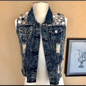 Jackets & Blazers - Rockstar beads silver chain distressed denim vest